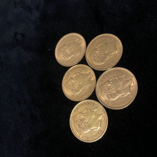 Lot of 5 pieces 20F gold Napoleon III  1866 (x2); 1867; 1868 (x2)