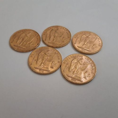 Lot of 5 pieces of 20F gold to the Genie  1887 ; 1897 ; 1891 ; 1898 (x2)