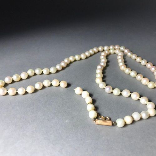 Pearl necklace with 18K yellow gold clasp PB: 35.13g