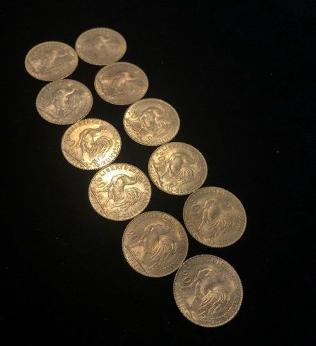 Set of 11 pieces of 20F gold at the cockerel 1913