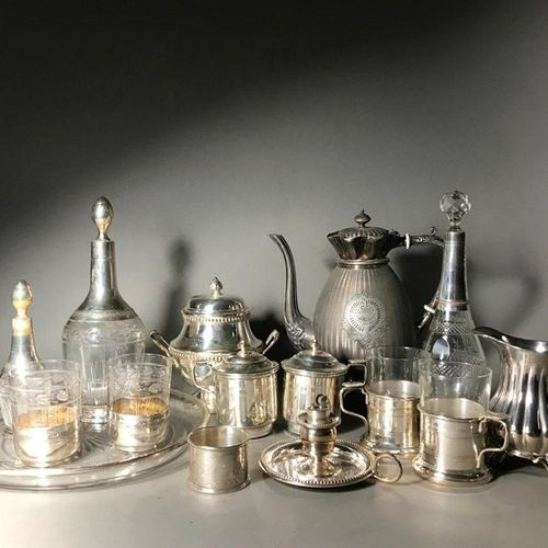 Set comprising:  Two bottles mounted in silver and two glasses mounted in silver…