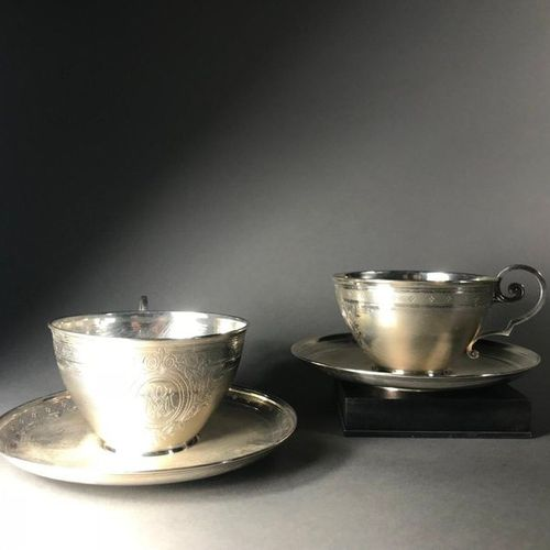 Set of two cups  In silver 925°°°°°°  With guilloche decoration  LAVALLEE F. NIC…