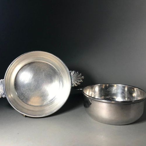 Pair of silver plated metal vegetable dishes Shell shaped side sockets  L. 27.5 …