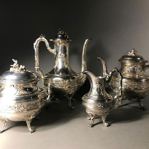 VICTOR BOIVIN  Tea and coffee service  In silver 925°°°°°°  Including coffee pot…