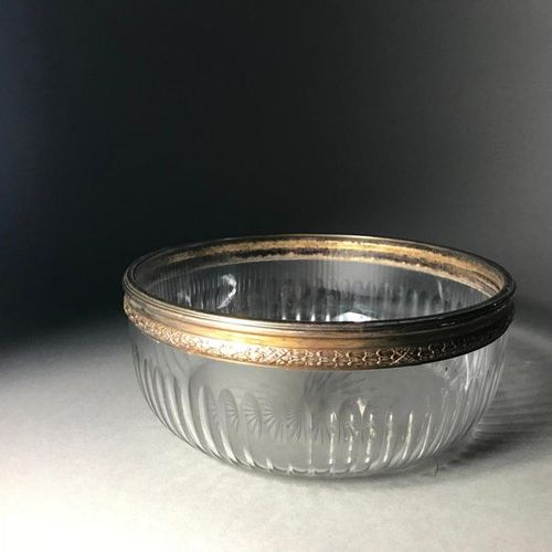 Wheel cut crystal salad bowl Mounted in silver  PB: 741.90g