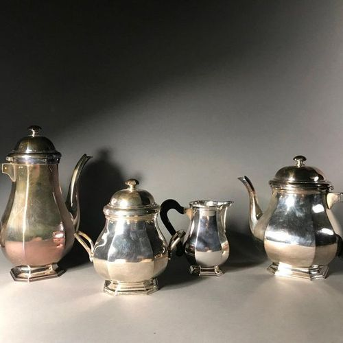 Tea coffee set In silver plated metal Cut off sides Wooden handles