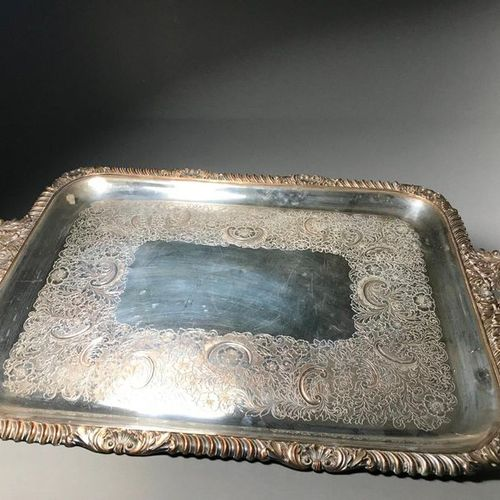 Large tray in silvery metal with rocaille decoration L. 78,5 cm
