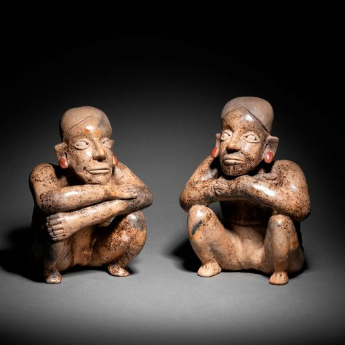 ? COUPLE OF STATUETTES JALISCO CULTURE, WESTERN MEXICO PROTOCLASTIC, 100 BC. BC …