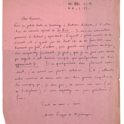 [ARTAUD Antonin].PIEYRE DE MANDIARGUES André. ARTAUD ON A BACKGROUND OF MEMORIES…