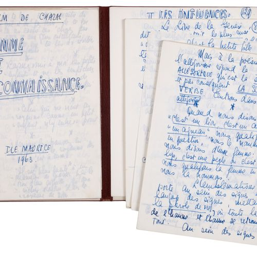 CHAZAL Malcom de. MAN AND KNOWLEDGE. AUTOGRAPH MANUSCRIPT. Dated Mauritius, 1963…