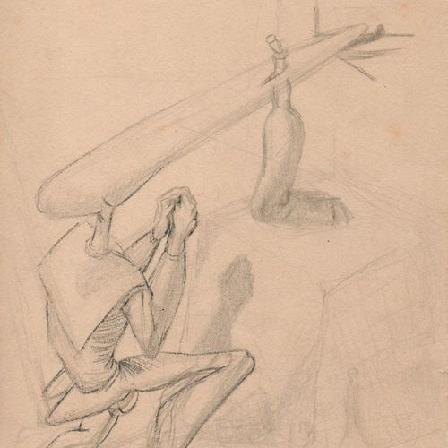 "DALI Salvador. STUDY FOR THE PAINTING ""MYSELF AT TEN, WHEN I WAS THE GRASSHOPPER…"