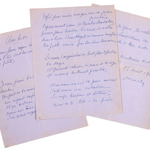 ARTAUD Antonin. FOR READING. AUTOGRAPH POEM SIGNED. Sunday August 25, 1935. 3 pa…
