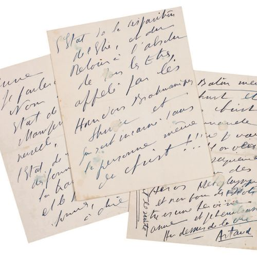 ARTAUD Antonin. AUTOGRAPH LETTER SIGNED TO ANNE MANSON. [September 1937]. 6 page…