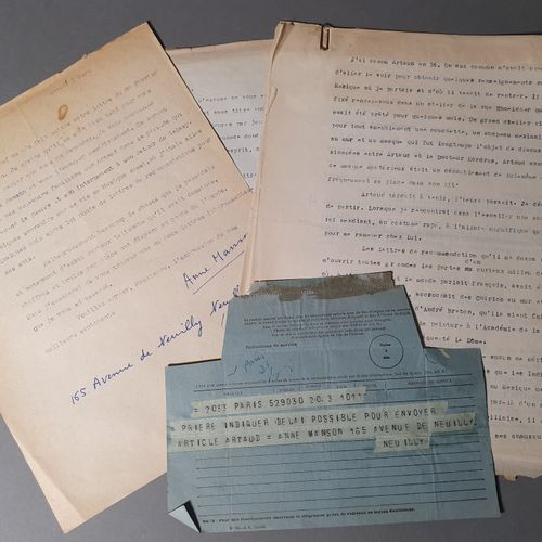 [ARTAUD Antonin].MANSON Anne. TWO SIGNED TYPED LETTERS ADDRESSED TO THE DIRECTOR…