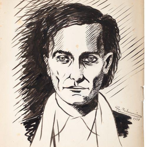 [ARTAUD Antonin].MALAUSSENA Georges. PORTRAIT OF ANTONIN ARTAUD. ORIGINAL DRAWIN…