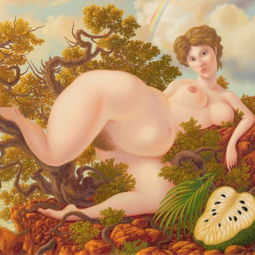 ALEJANDRO Ramon. THE INVENTION OF SOURSOP. OIL ON CANVAS SIGNED. Paris, 1989. 39…