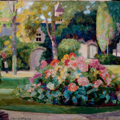 Victor CHARRETON, 1864 1936 Flowers in the Park, 1933 Oil on canvas (some traces…