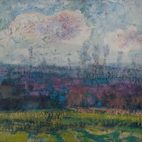 Victor CHARRETON, 1864 1936 Fields and purple hills Oil on board Unsigned 18 x 2…