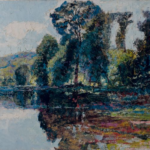 Victor CHARRETON, 1864 1936 Pond with a large tree Oil on canvas Signed lower ri…