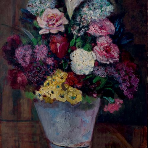 Victor CHARRETON, 1864 1936 Flowering vase Oil on canvas Signed lower right 73 x…