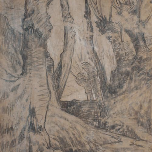 Victor CHARRETON, 1864 1936 Study of trees in winter Charcoal on cardboard (acci…