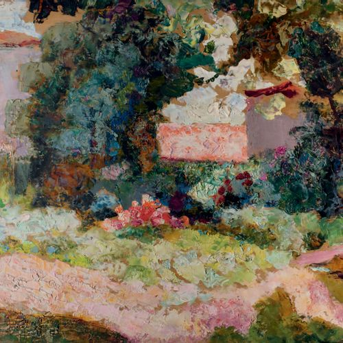 Victor CHARRETON, 1864 1936 Park at the back of the house Oil on panel Unsigned …