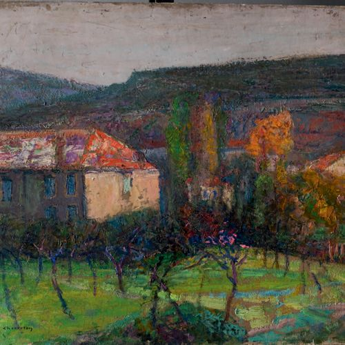 Victor CHARRETON, 1864 1936 Autumn in Veyre, Puy de Dôme, with snow Oil on cardb…