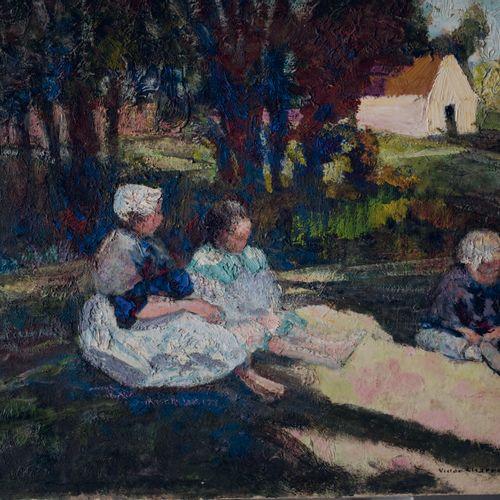 Victor CHARRETON, 1864 1936 Bretonnes en plein air Oil on cardboard (corner mark…