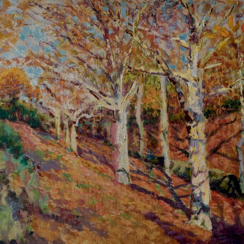 Victor CHARRETON, 1864 1936 Trees in Autumn Oil on board Signed lower right 33 x…