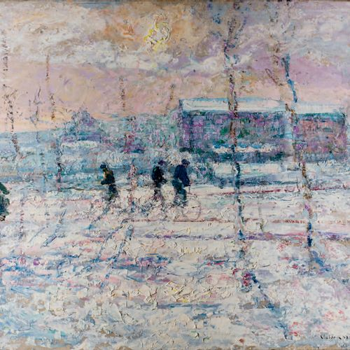 Victor CHARRETON, 1864 1936 Cyclists in the snow Oil on board Signed lower right…