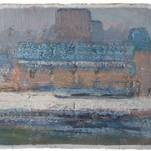 Victor CHARRETON, 1864 1936 City and river, white frost Oil on board (rounded co…