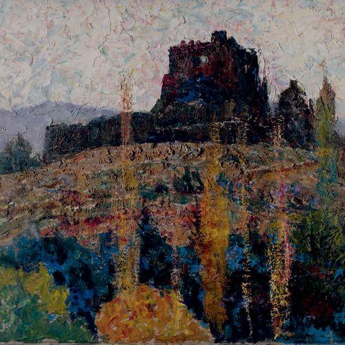 Victor CHARRETON, 1864 1936 Castle in ruins, autumn in Murols Oil on cardboard S…