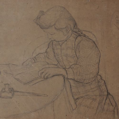 Victor CHARRETON, 1864 1936 Study of a young girl reading Black pencil on beige …