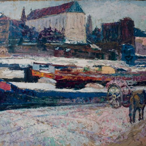 Victor CHARRETON, 1864 1936 Barges along a canal in front of a church Oil on car…