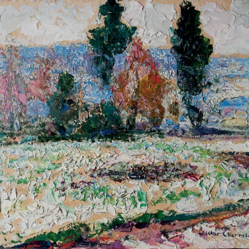 Victor CHARRETON, 1864 1936 Snowy field and trees Oil on cardboard Signed lower …