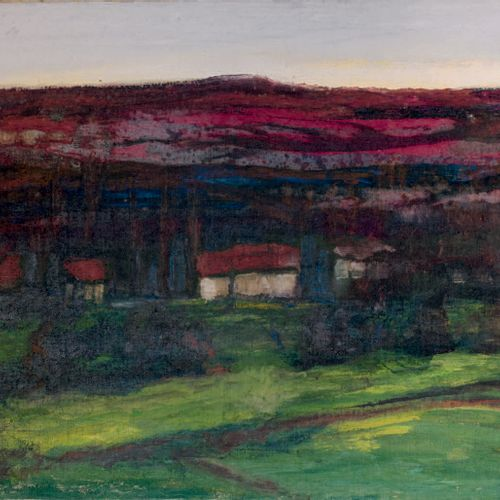Victor CHARRETON, 1864 1936 Green meadow on the red mountain Oil on canvas (chan…