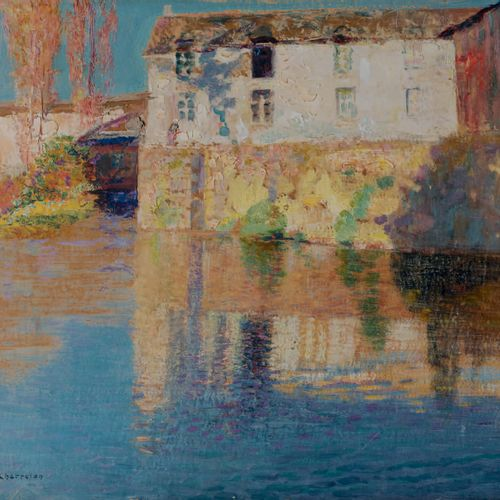 Victor CHARRETON 1864 1936 Morning near the port Oil on cardboard Signed lower l…