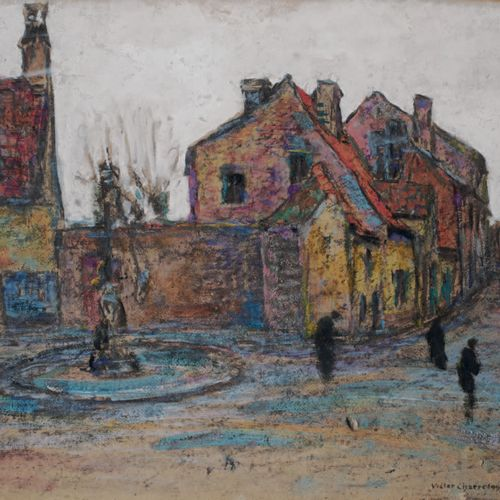 Victor CHARRETON, 1864 1936 Fountain in a village square Garden seen from the ho…