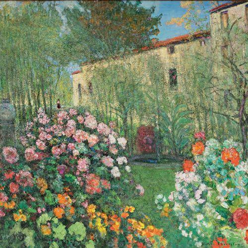 Victor CHARRETON, 1864 1936 Éveil du jour, l'aube au jardin Oil on finette (smal…