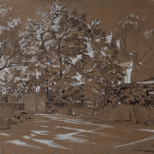 Victor CHARRETON, 1864 1936 La Sagne seen from the garden Trees near a wall in w…