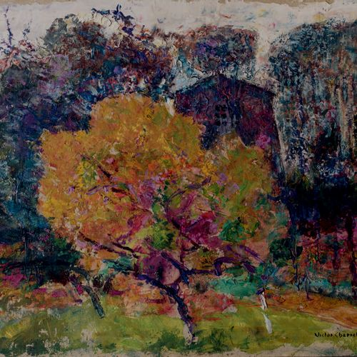 Victor CHARRETON, 1864 1936 Tree in autumn in front of the house Oil on cardboar…