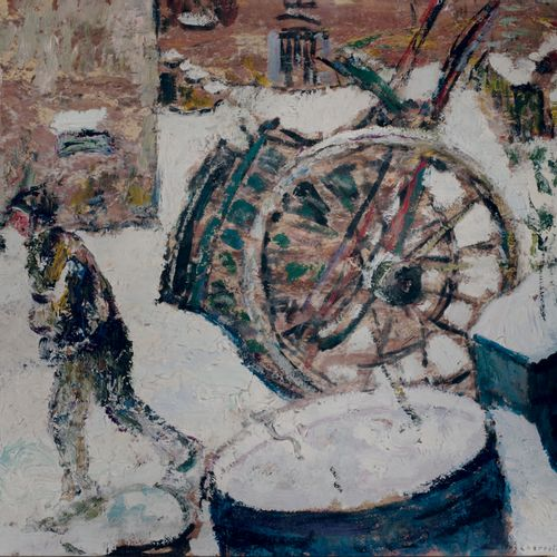 Victor CHARRETON, 1864 1936 Village in the mountains, winter Oil on cardboard Si…