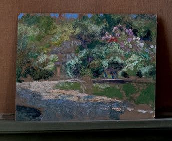 Victor CHARRETON, 1864 1936 Garden in front of the house in spring Oil on cardbo…