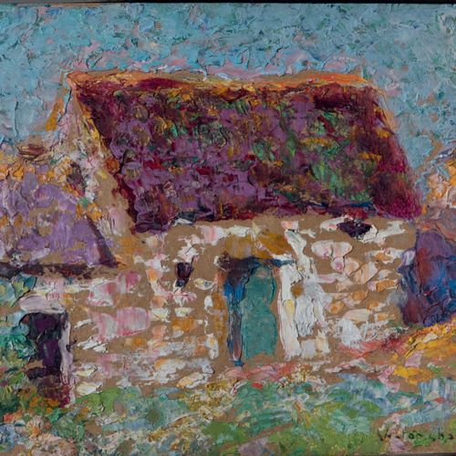 Victor CHARRETON, 1864 1936 Small farm Oil on board Signed lower right 16 x 22 c…