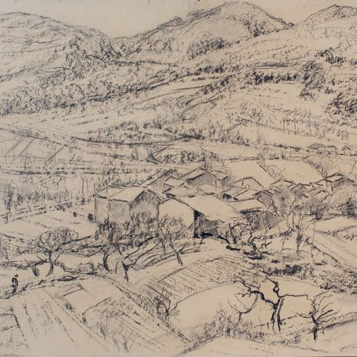Victor CHARRETON, 1864 1936 Hamlet in a hilly landscape Charcoal on board Unsign…