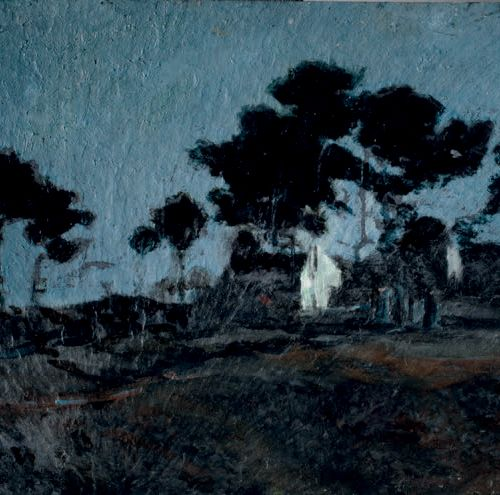 Victor CHARRETON, 1864 1936 House on the moor at night Oil on slate Signed lower…