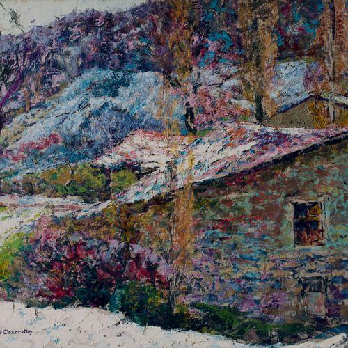 Victor CHARRETON, 1864 1936 Barn in a snowy landscape Oil on board Signature sta…