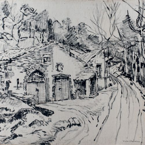 Victor CHARRETON, 1864 1936 Alley in a hamlet on the hill Black ink on canvas Si…