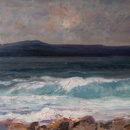 Victor CHARRETON, 1864 1936 The wave on the purple shore Oil on panel (traces of…
