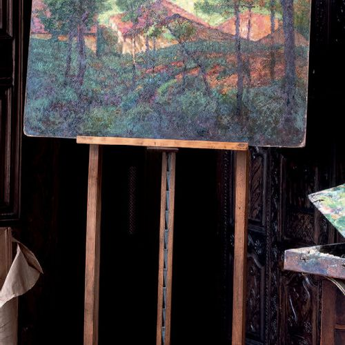 Victor CHARRETON, 1864 1936 Roofs in the forest Oil on cardboard (old retouching…